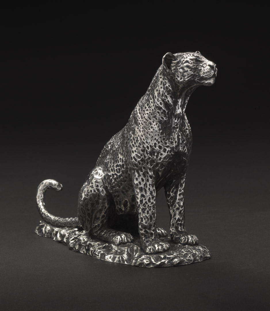 Aberdares Leopardess Sitting (Flipped Silver)