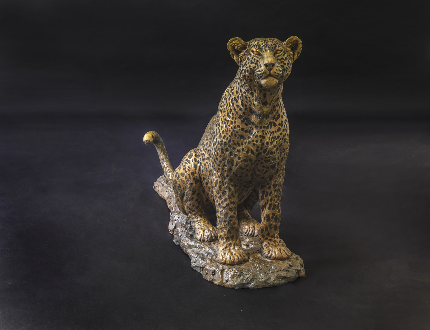Aberdares Leopardess Sitting Life Sized